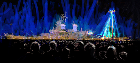 As part of community outreach, the USS IOWA will act as an event stage for concerts and events